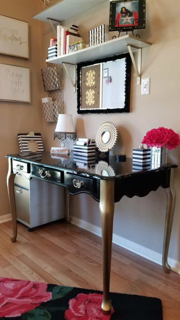 Painting My Desk Black and Gold - DIY Glam Desk Makeover - Lani Does It